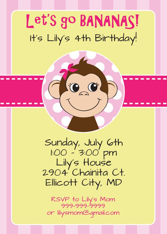 Girl Monkey Birthday Invitation - Let\'s Go Bananas - Printable ...