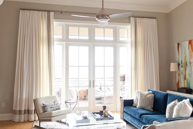 23ef29586b0 White Curtains With Blue And Gray Trim Design Ideas