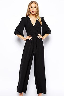 03ce53a71328 New Sexy Black Deep V Neck Jumpsuit Catsuit Dress Outfit Romper 6649 ...