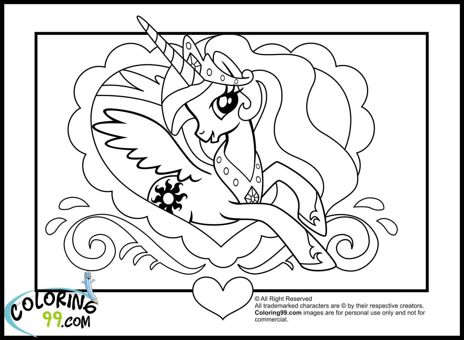 My Little Pony Princess Celestia Coloring Pages   Team ...