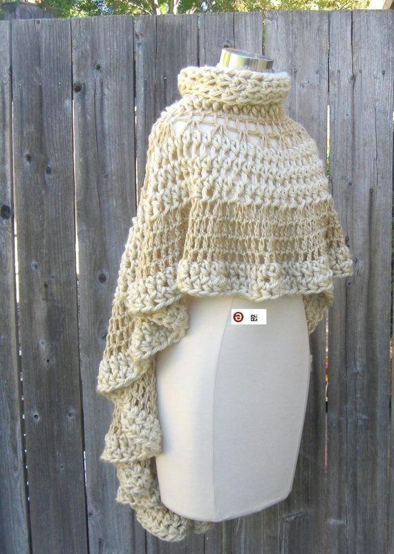 BEIGE CAPE PONCHO Crochet Knit Cream Shawl Turtleneck Boho Hippie ...