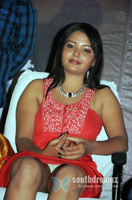 Tamil Actress Pavina Sexy Panty Visible Stills In Red Dress
