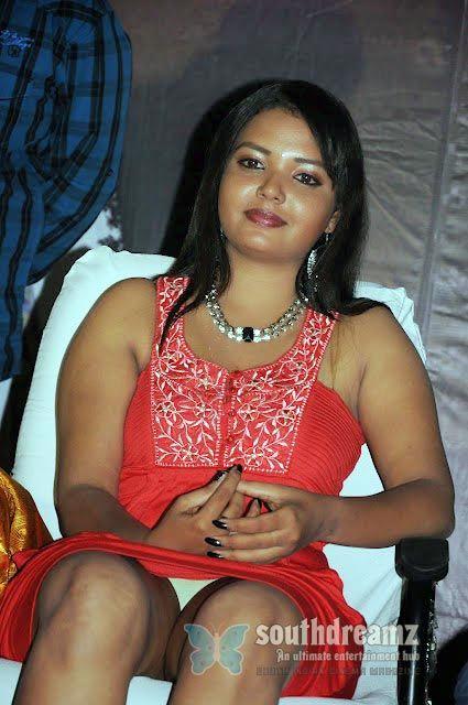 Tamil Actress Pavina Sexy Panty Visible Stills In Red Dress