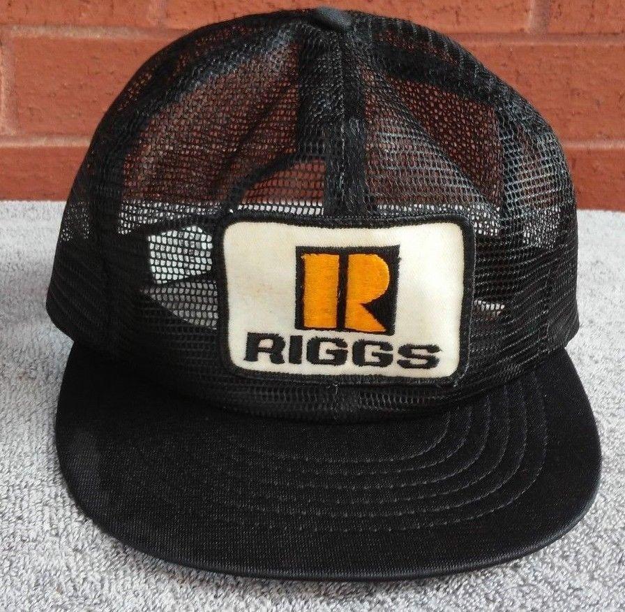 7b6c82d10dcd1f Riggs Hat Cap Patch USA MADE Snapback Vtg Trucker Full Mesh Black White  Yellow  usamadecabotar  truckerCapHat