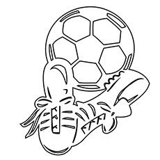 Printable Popular Soccer Ball Shoes Coloring Pages