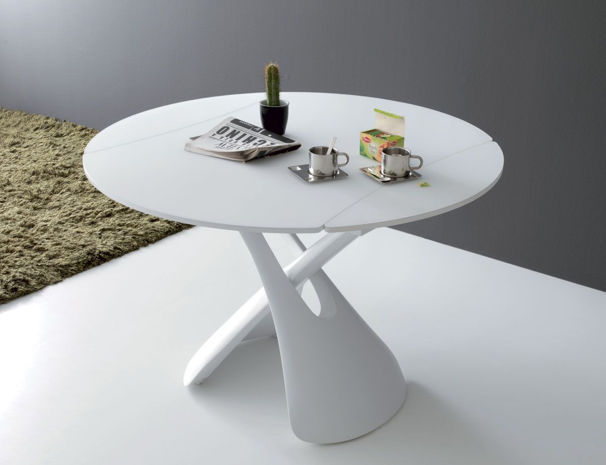 White lacquer dining table round - Paris 480 Liftable Table And Adjustable By A Pump Base In Mat White Lacquered Polyurethane Rectangular Special Shape Top Convertible In Round