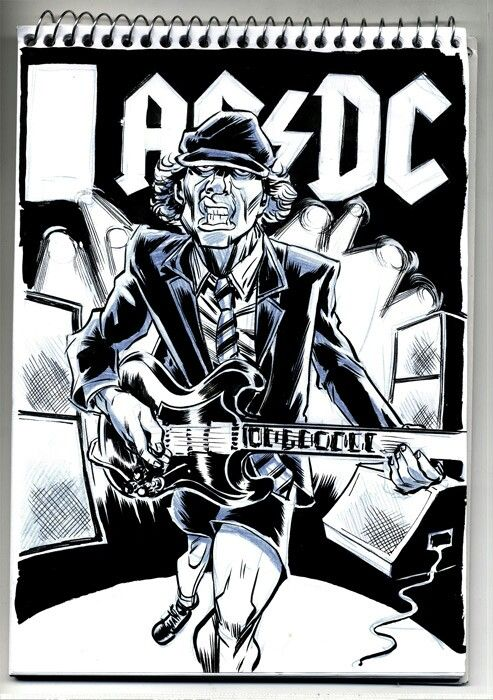 Pin By Stschlumpf On A C D C Acdc Art Acdc Drawing Angus Young