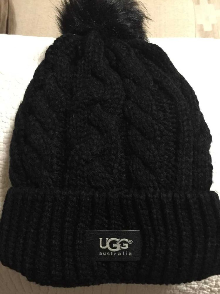 93ae51cc9fe UGG Womens Solid Ribbed Fleece Lined Winter Beanie Hat With Pom Pom  fashion   clothing