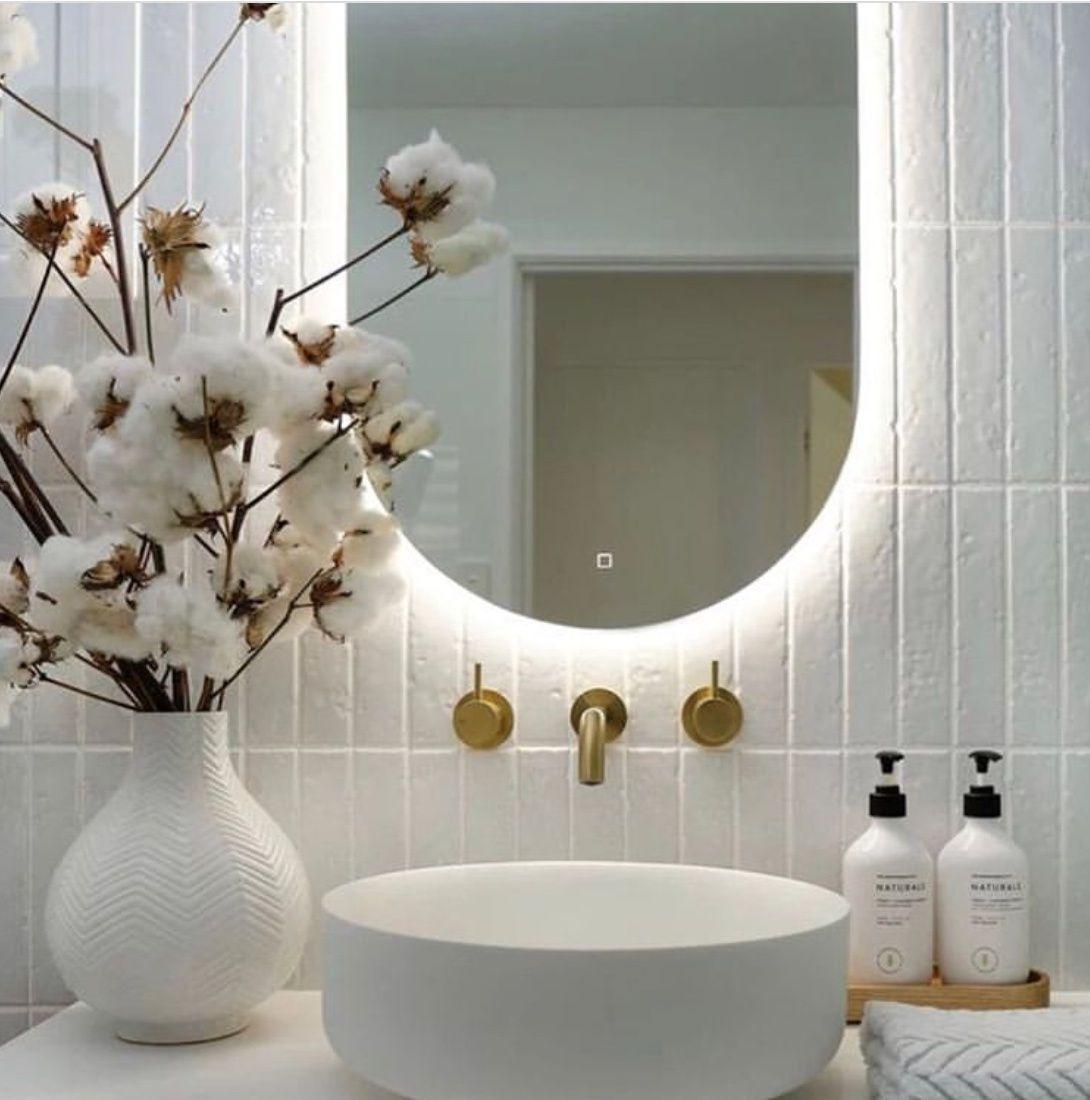30 Stunning Bathroom Designs With Backlit Mirror The Wonder Cottage In 2020 House And Home Magazine Decor Round Mirror Bathroom