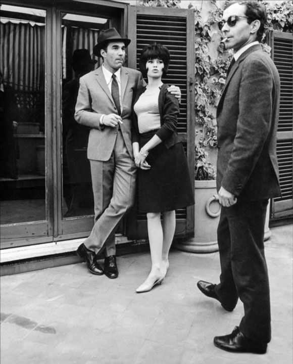 Michael Piccoli, Brigitte Bardot and Jean-Luc Godard on set, Contempt (1963)