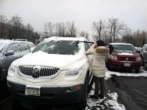 clean the snow off random cars
