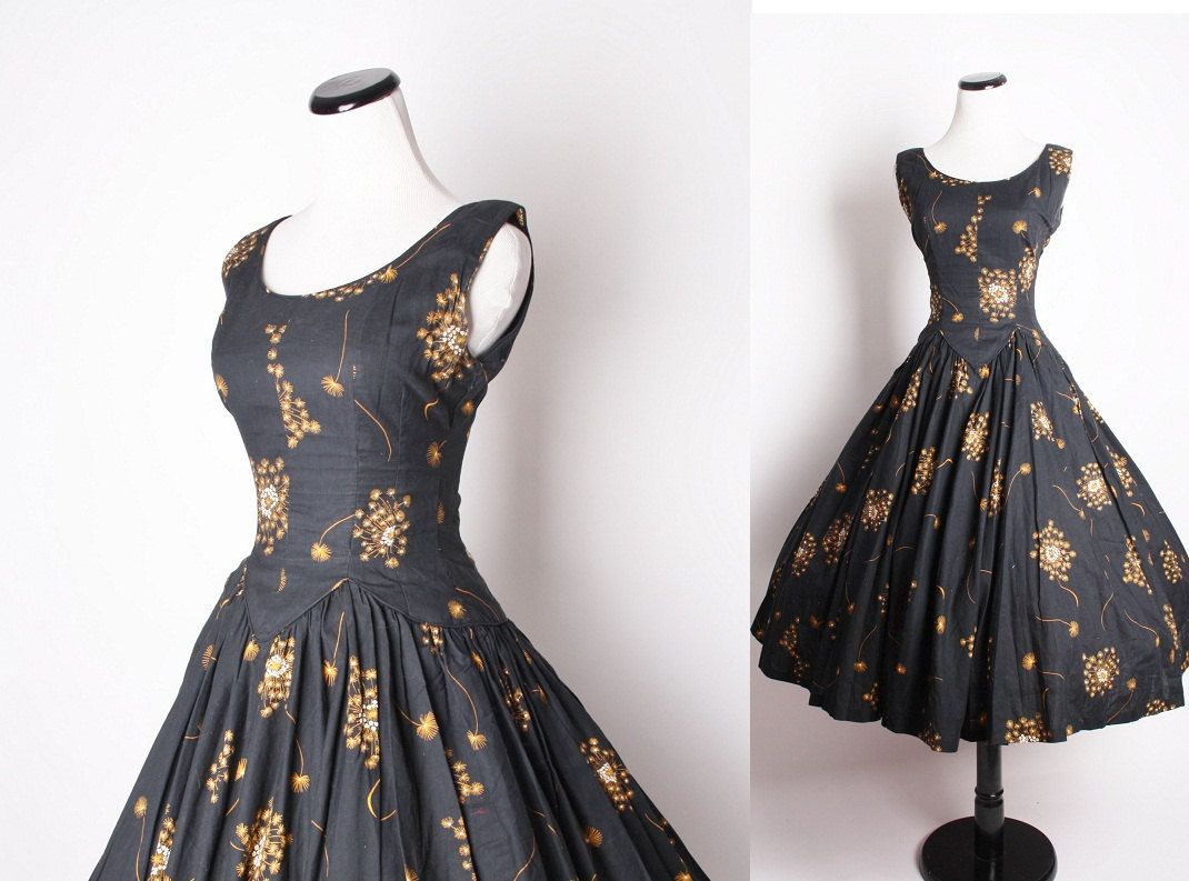 50s Vintage Cocktail Dress / Black Dress / Dress / Dresses / Vintage ...