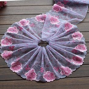 Purple Lace Trim Exquisite Big Rose Embroidered Tu