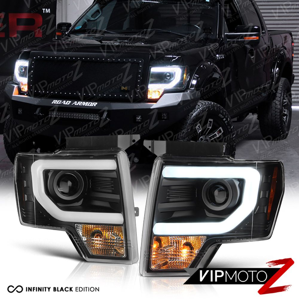 details about 2009 2014 ford f150 cyclop optic led tube matte black headlights