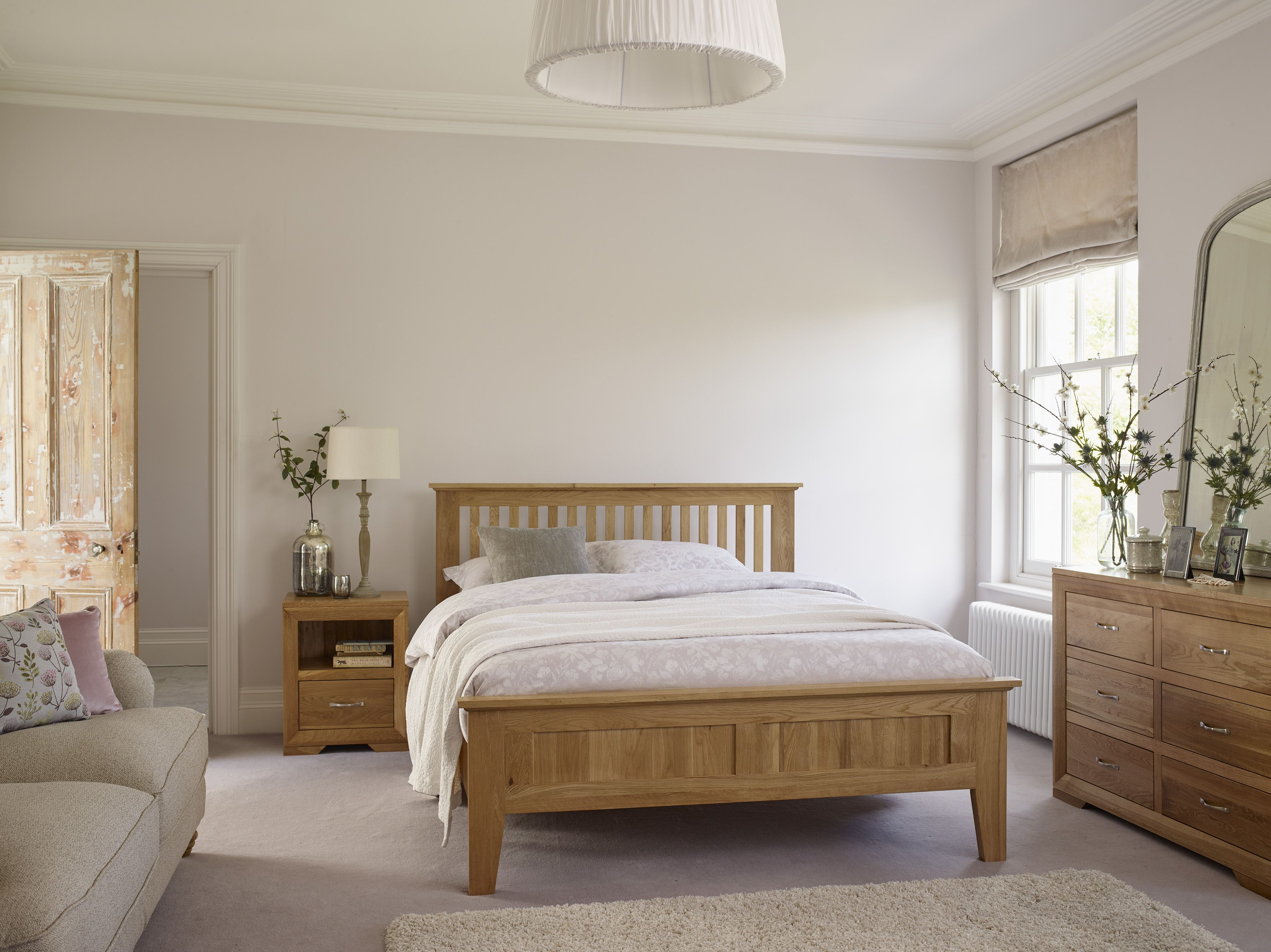 Bevel Natural Solid Oak 5ft King Size Bed Oak Bedroom Furniture Oak Bedroom Cream Bedroom Furniture
