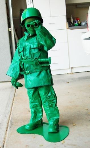 spray paint an army outfit bright green for a realistic looking diy toy soldier costume