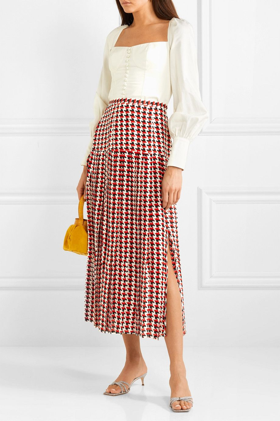c93f8fa2 RIXO | Tina pleated houndstooth silk crepe de chine midi skirt |  NET-A-PORTER.COM