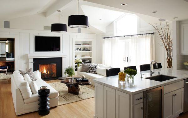 wohnzimmer retro holzmöbel kamin teppich rautenmuster schwarz weiß - wohnzimmer lampen ideen