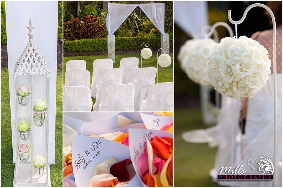 Wedding ceremony with shepard hooks & rose balls, petal cones and arbour