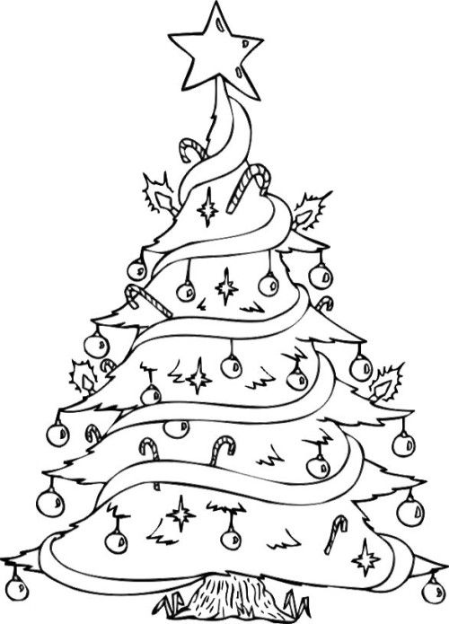 A Christmas Tree In The Garnish With Star Coloring Page Christmas Tree Coloring Page Christmas Coloring Pages Tree Coloring Page