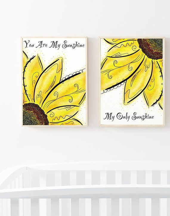 Sunshine Nursery Art, Sunflower Wall Decor, Kids Prints Sets, Flower ...