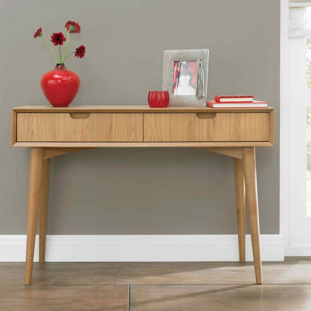 Vale furnishers carnaby oak console table with drawers hall vale furnishers carnaby oak console table with drawers geotapseo Choice Image