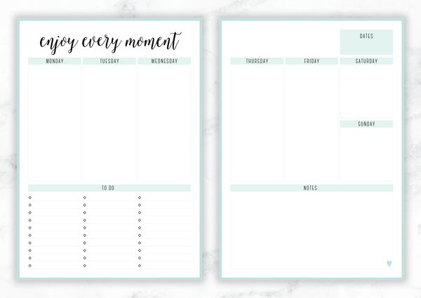 Free Printable Irma 'Enjoy Every Moment' Weekly Planner By Eliza