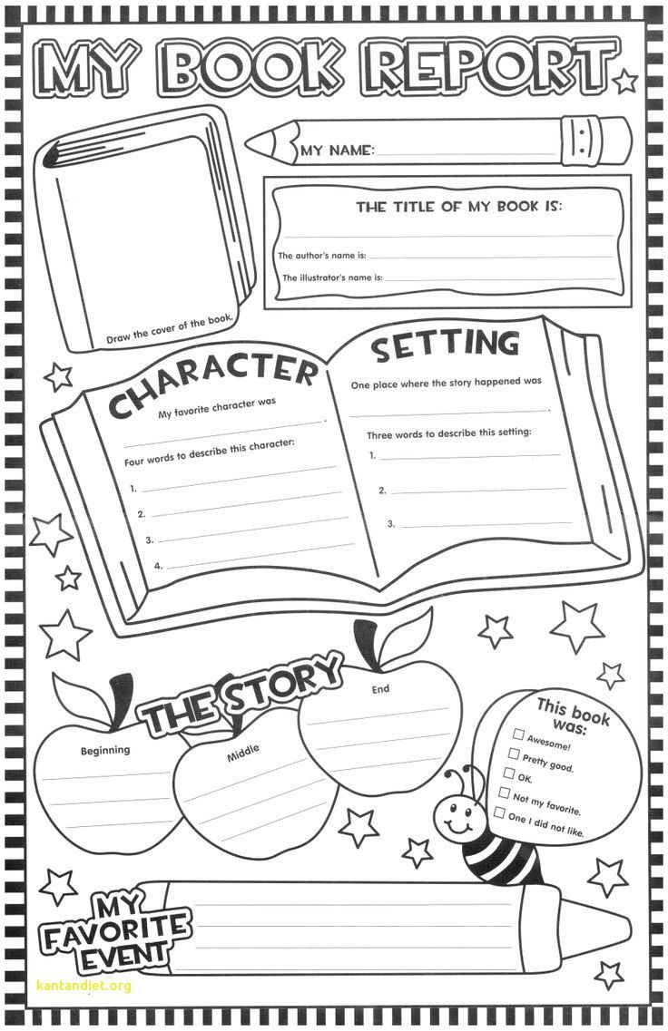 medium resolution of book report worksheet 3rd grade   First grade reading