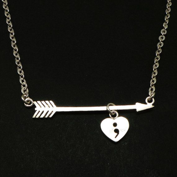 Silver Arrow Heart Semicolon Necklace For Suicide Awareness And Mental Health