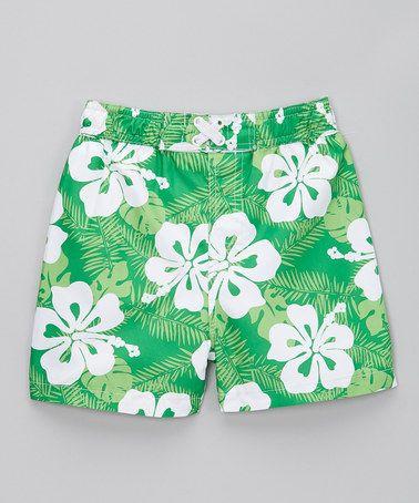 Another great find on #zulily! Green Hawaiian Flower Swim Trunks - Infant & Toddler #zulilyfinds