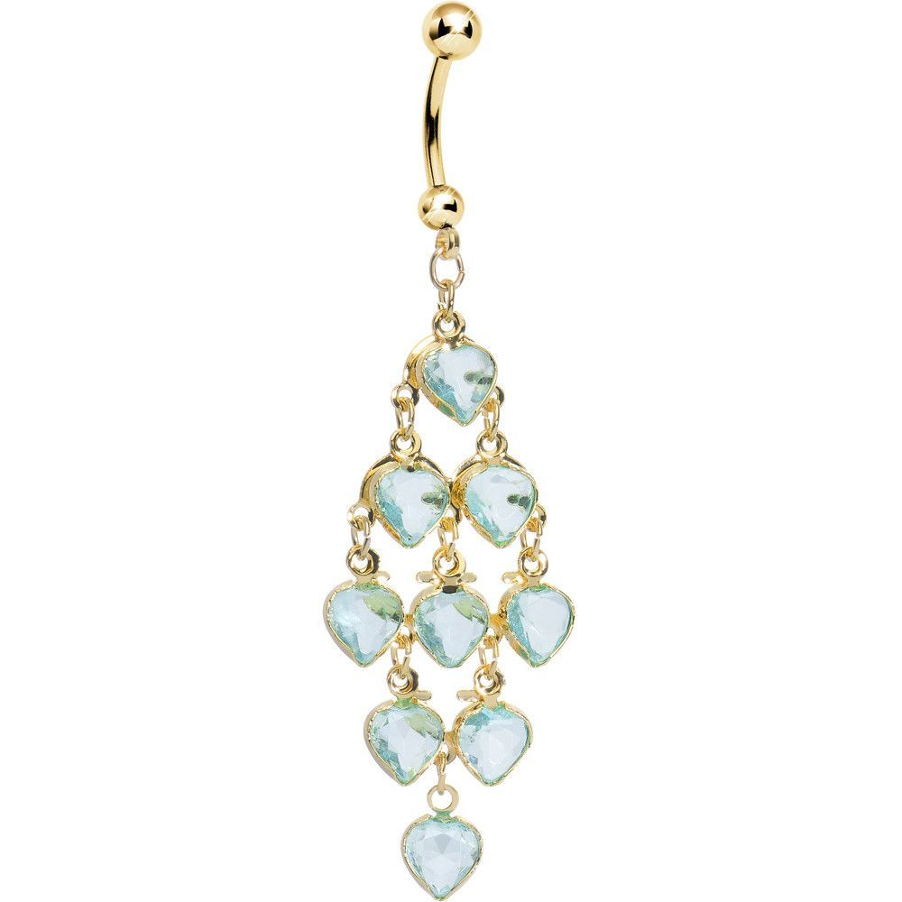 Navel piercing ideas  Gold Plated Faux Aqua Stone Hearts Chandelier Belly Ring  Aqua and