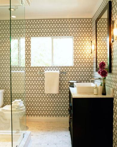 Modern Guest Bathroom With Geometric Wallpaper Ebony Bathroom Vanity Cabinet Ebony Framed Mir Bathroom Design