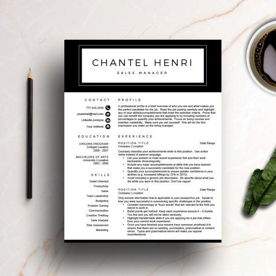 Modern Resume Template for Word \ Pages (1 and 2 Page Resume - references page for resume