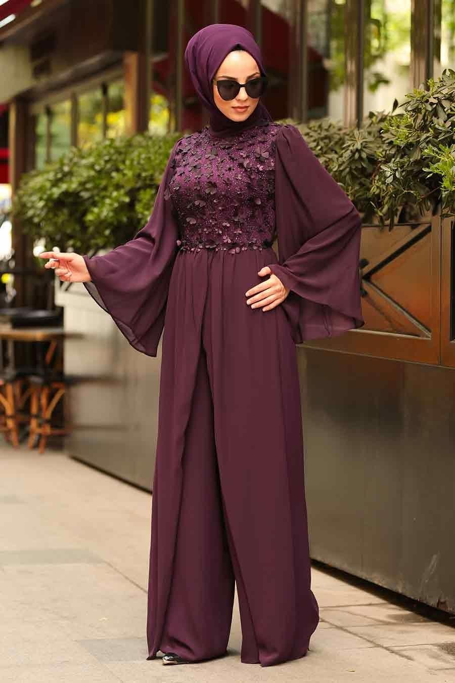 Nayla Collection Uc Boyutlu Cicekli Mor Tesettur Abiye Tulum 3932mor Tesetturisland Com Tesettur Abiye Modelleri 2020 Hijab Fashion Fashion Daily Dress