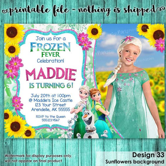 Frozen Fever Invitation with Photo Frozen by KidsPartyPrintables - invitation birthday frozen