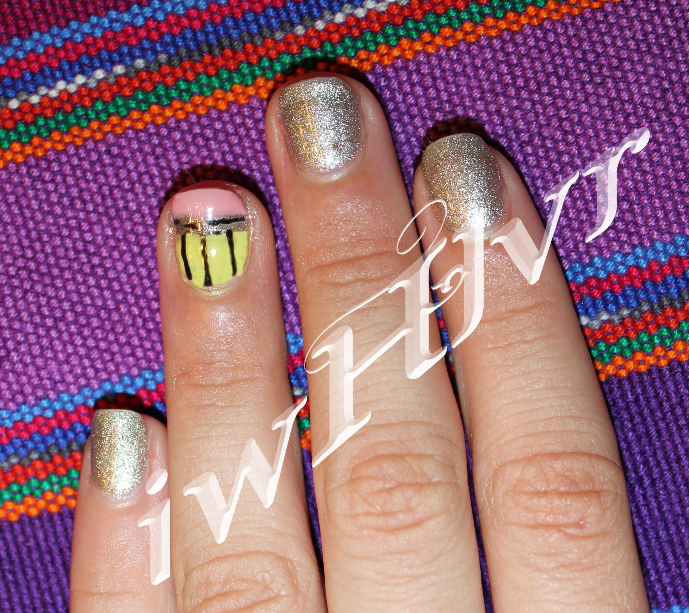 IWHLVR nail art back to school pencil accent nail on short nails ...