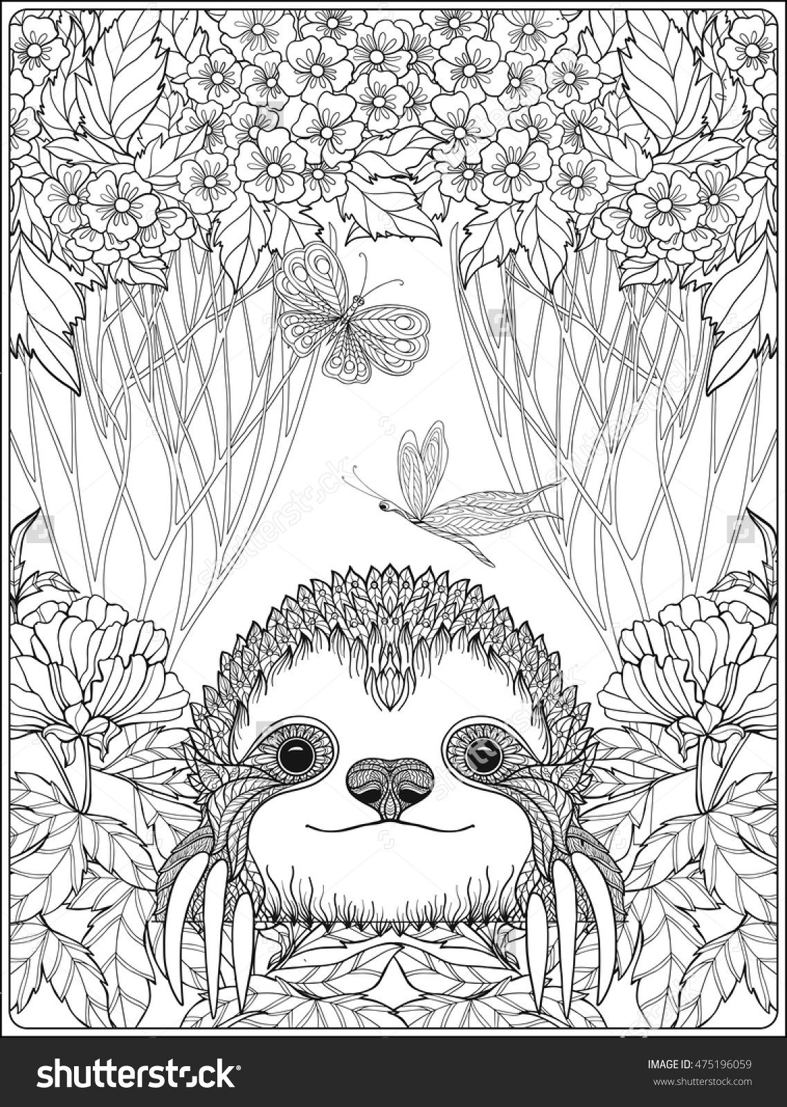 Free coloring pages of peacock feathers coloring everyday printable - Cute Sloth In Forest Coloring Page For Adults Shutterstock 475196059