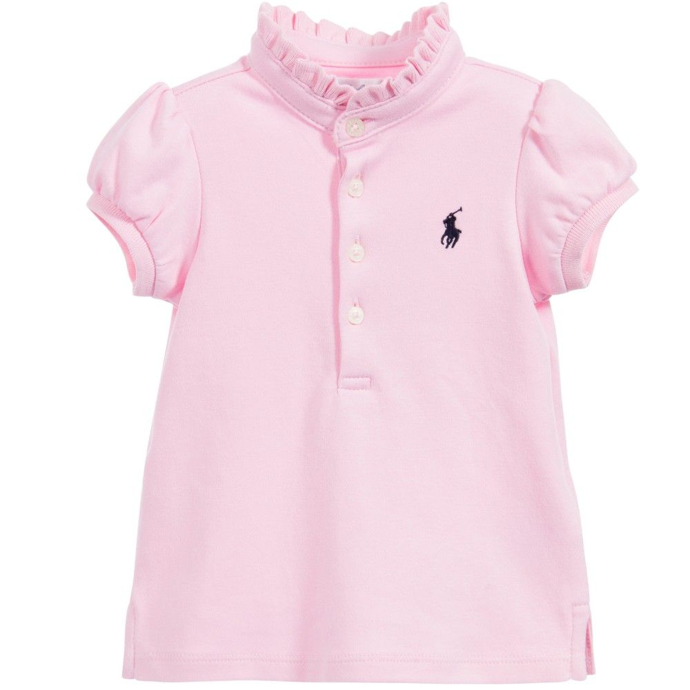 Girls Pale Pink Ralph Lauren Polo Shirt With A Ruffled Stand Up