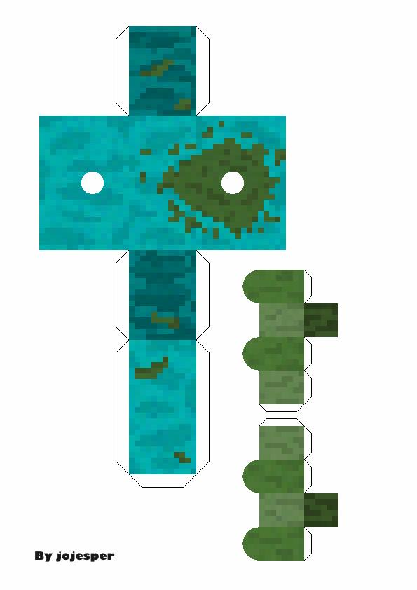 Papercraft Movable Mutant Zombie No Toothpicks Paper Crafts Minecraft Templates Papercraft Templates
