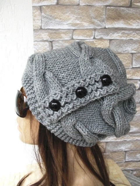 Slouchy Beanie Womens Hat Winter Knit hat Cable knit by Ebruk ...