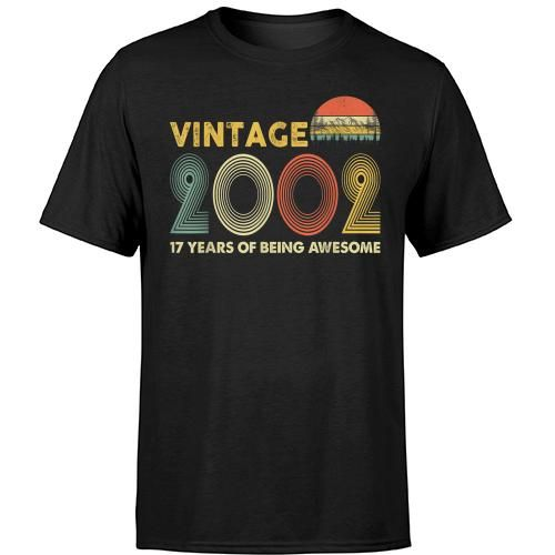 Retro Vintage 2002 17th Birthday Gifts 17 Years Old T-shirt Hoodie Sweater #17thbirthday