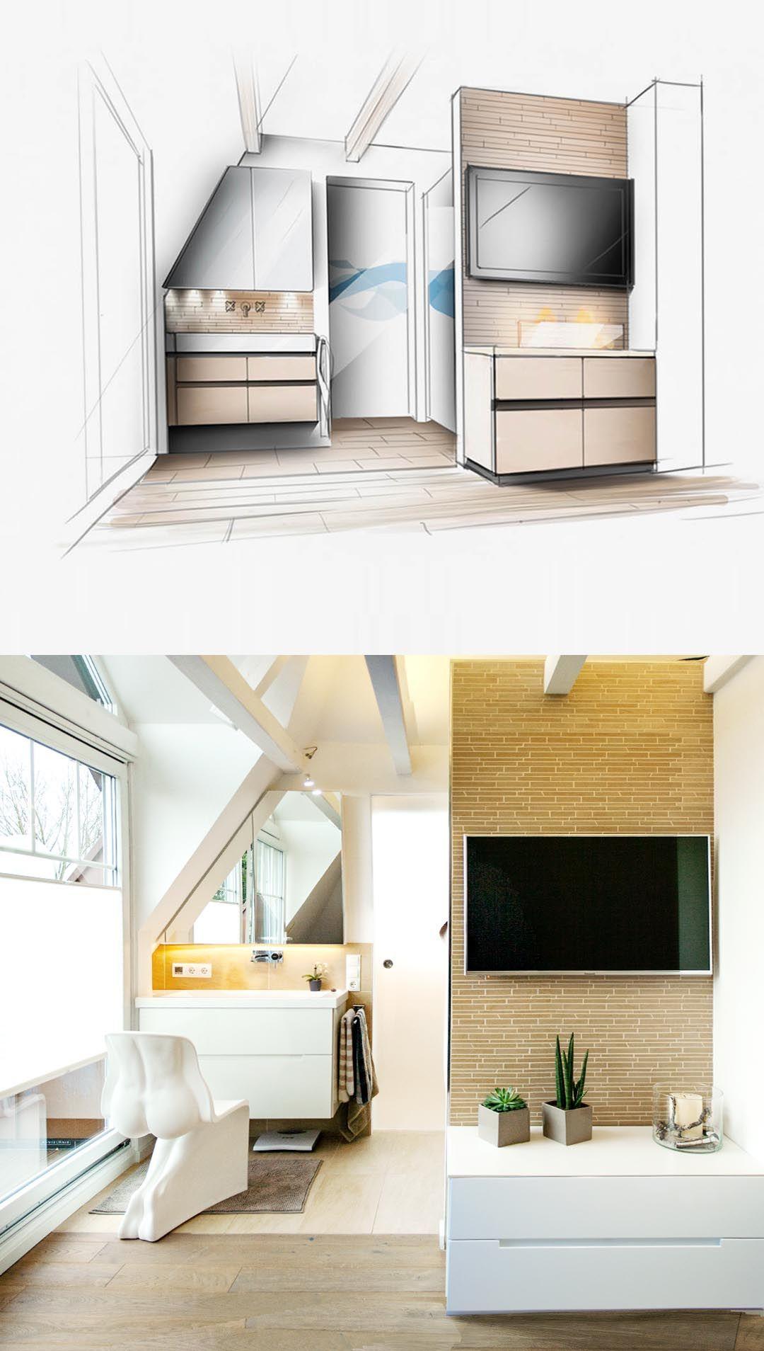 Bad design zeichnung innenarchitektur entwurf skizze bad und realisierung bad design