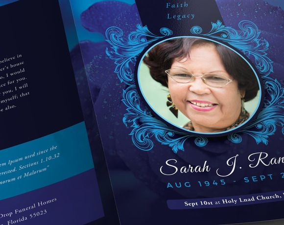 Blue Rose Funeral Program Template by SeraphimChris on Creative - free template for funeral program