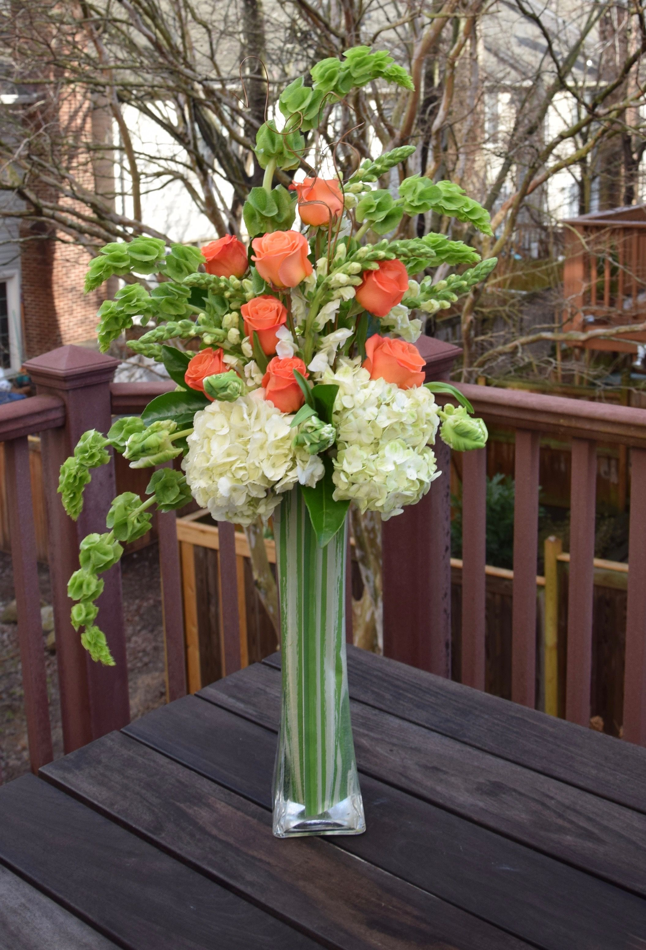 Tall Contemporary Arrangement With Hydrangeas Parrot Tulips Roses Bells Of Ire Flower Vase Arrangements Hydrangea Flower Arrangements Tall Vase Arrangements