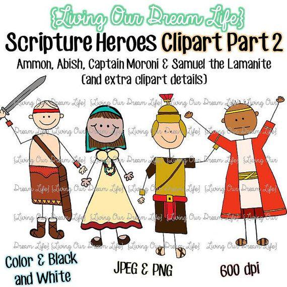 CLIPART Part Book Of Mormon Stick Figure Scripture Heroes Ammon Abish Captain Moroni Samuel The Lamanite