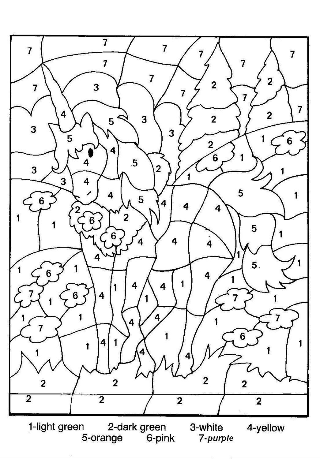 Color By Number For Older Kids Unicorn Coloring Pages Horse