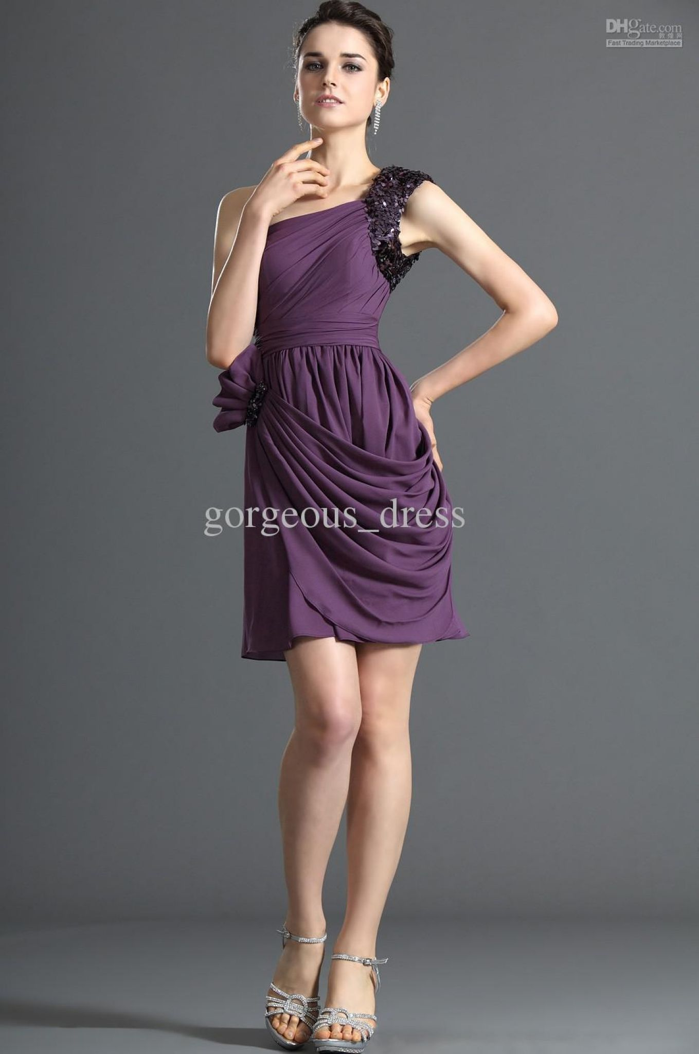 Purple Cocktail Dresses For Weddings   Wedding Dresses For Cheap Check More  At Http:/ Photo