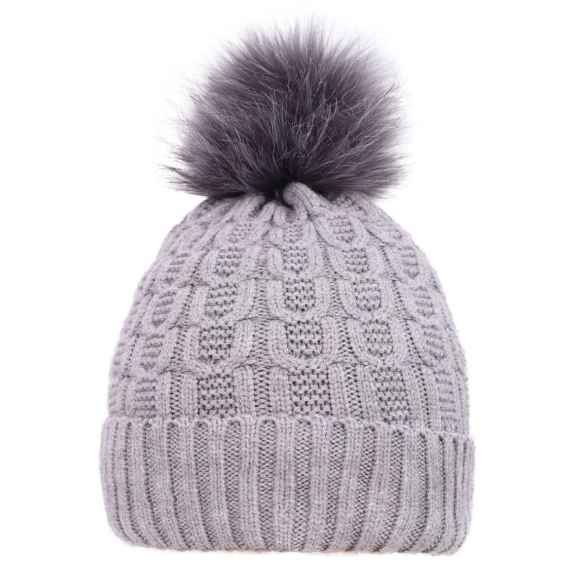 aeb1a3663 Arctic Paw Sherpa Lined Knit Beanie with Faux Fur Pompom (grey with ...