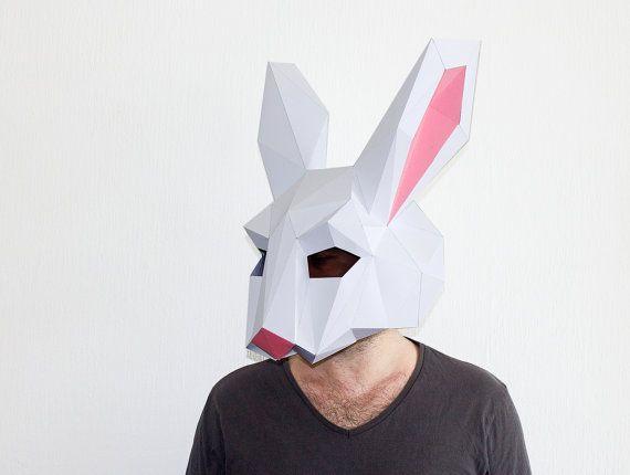 Diy Rabbit Mask Bunny Mask Paper Craft Template Printable Mask Instant Pdf Download 3d Low Poly Mask Origami Mask Bunny Gift Paper Animals Printable Masks Animal Heads