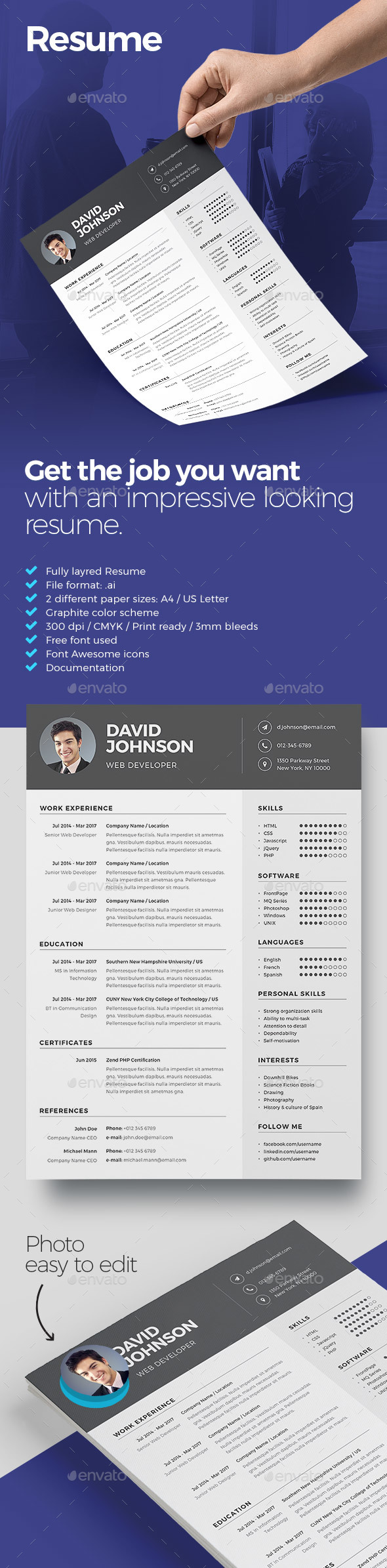 Resume Template Ai Illustrator  A And Us Letter Size  Resume